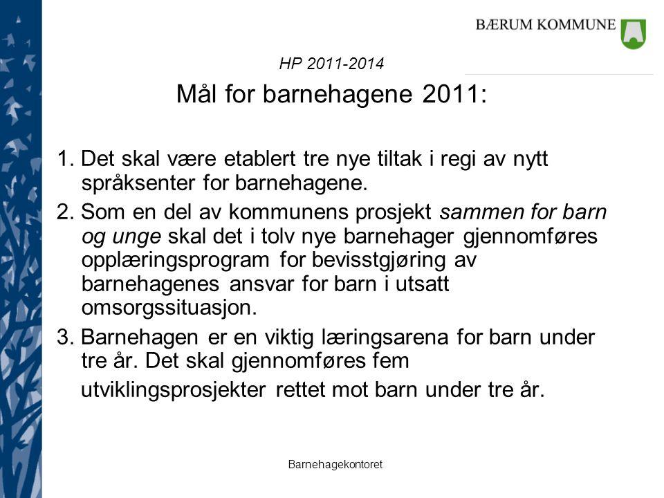 HP 2011-2014 Mål for barnehagene 2011: