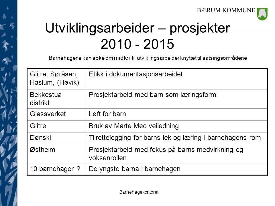 Utviklingsarbeider – prosjekter 2010 - 2015