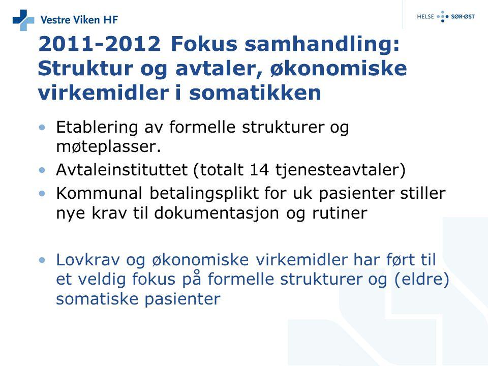 2011-2012 Fokus samhandling: Struktur og avtaler, økonomiske virkemidler i somatikken