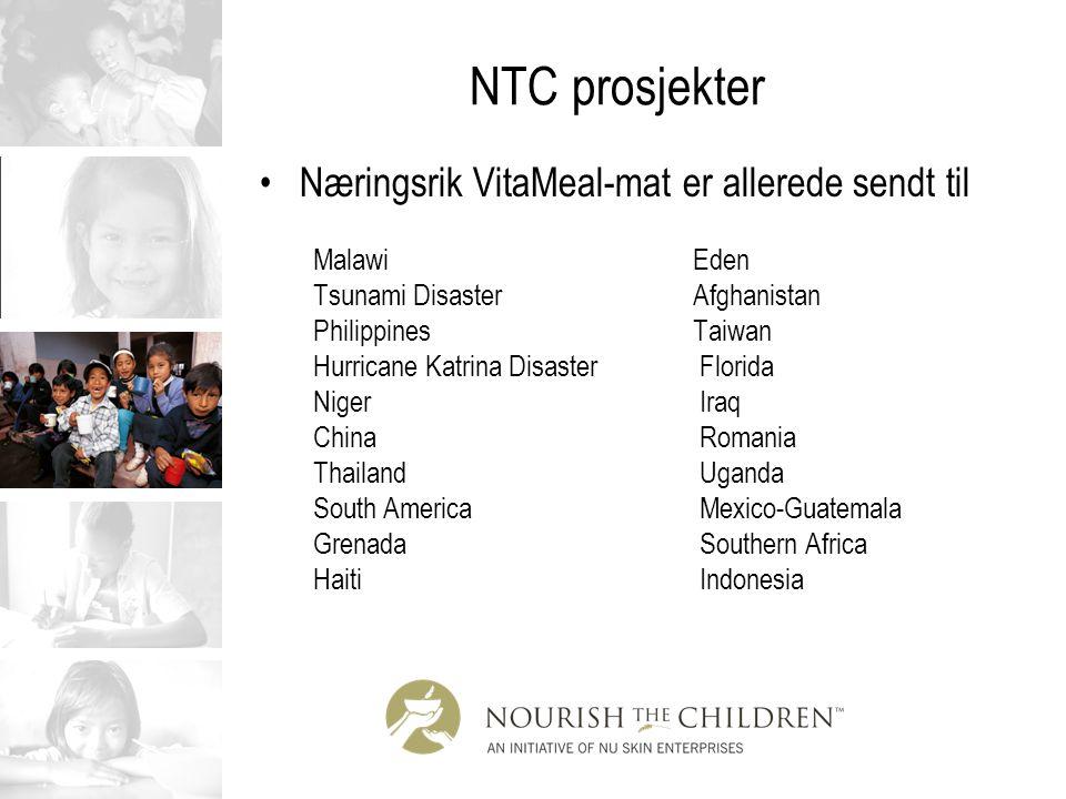 NTC prosjekter Næringsrik VitaMeal-mat er allerede sendt til