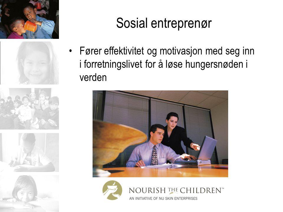 Sosial entreprenør Fører effektivitet og motivasjon med seg inn i forretningslivet for å løse hungersnøden i verden.