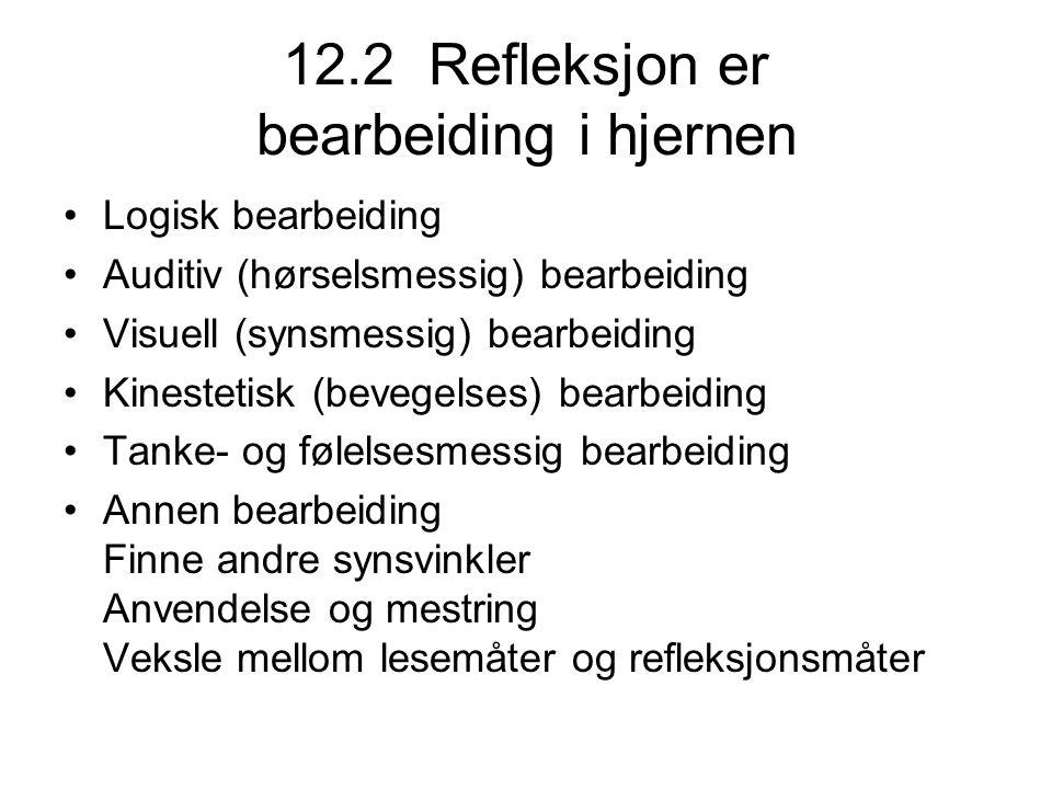 12.2 Refleksjon er bearbeiding i hjernen