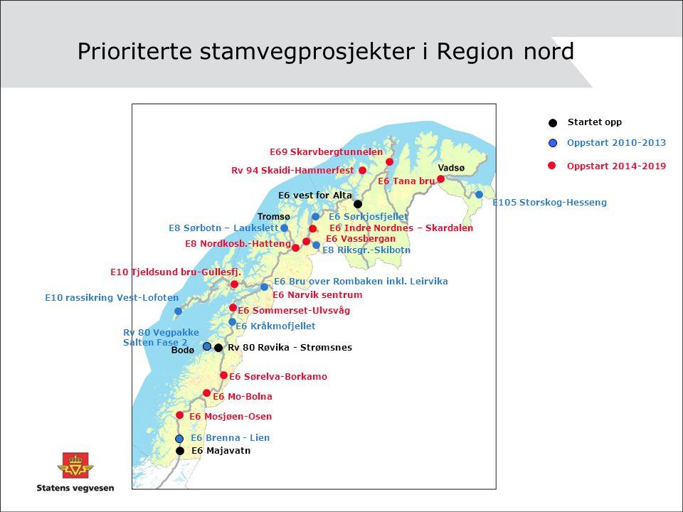 Prioriterte stamvegprosjekter i Region nord