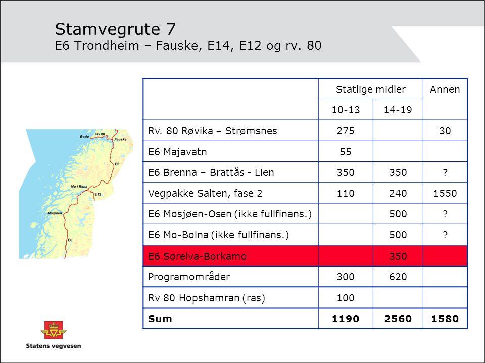 Stamvegrute 7 E6 Trondheim – Fauske, E14, E12 og rv. 80