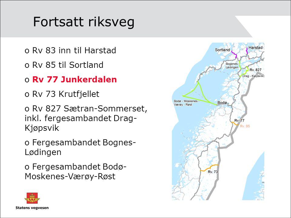 Fortsatt riksveg Rv 83 inn til Harstad Rv 85 til Sortland