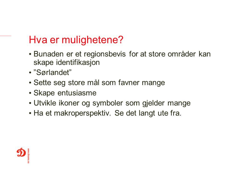 Hva er mulighetene Bunaden er et regionsbevis for at store områder kan skape identifikasjon. Sørlandet