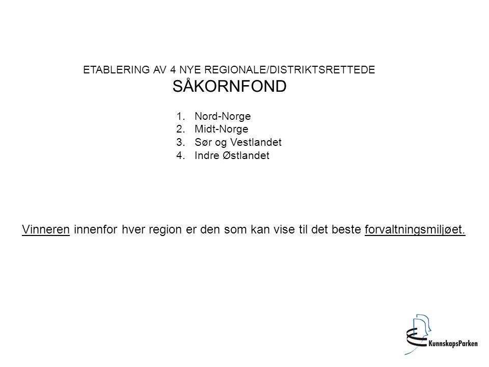 ETABLERING AV 4 NYE REGIONALE/DISTRIKTSRETTEDE