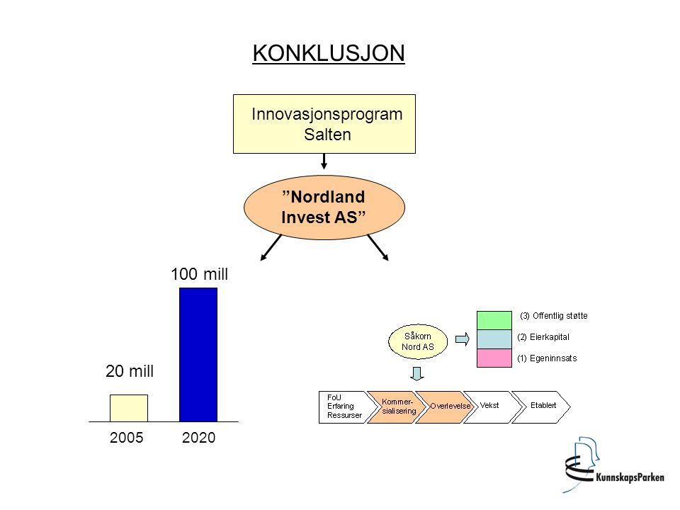 KONKLUSJON Innovasjonsprogram Salten Nordland Invest AS 100 mill