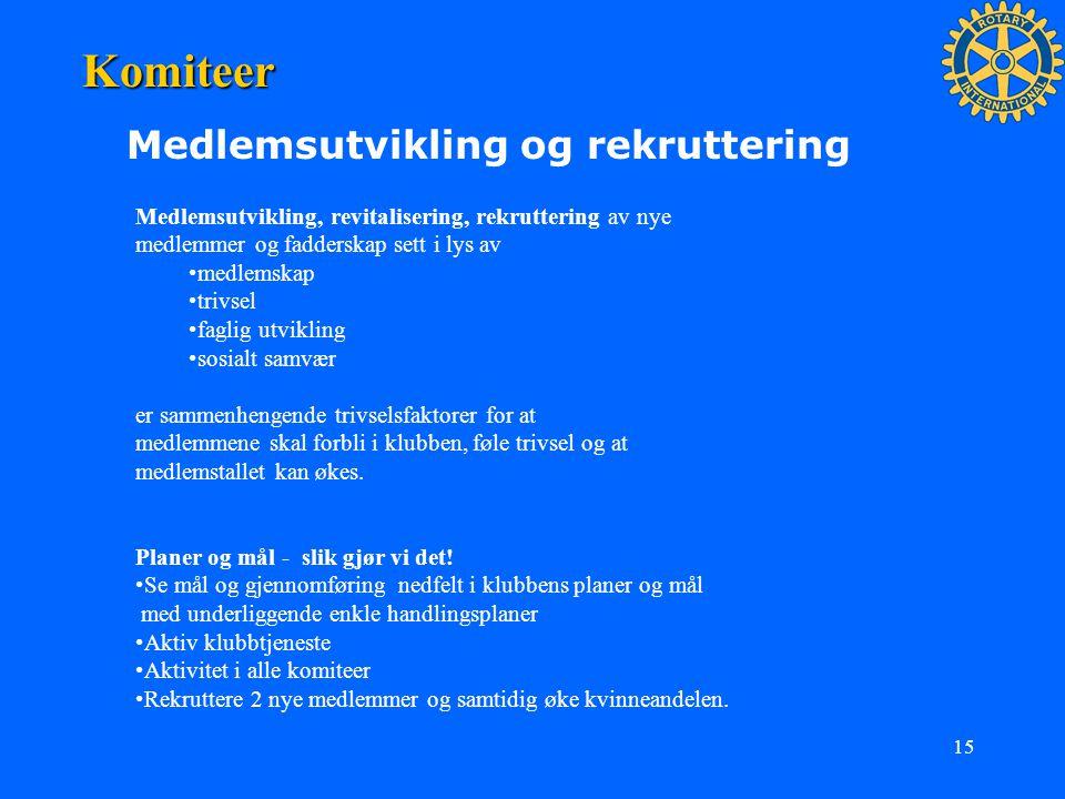 Komiteer Medlemsutvikling og rekruttering