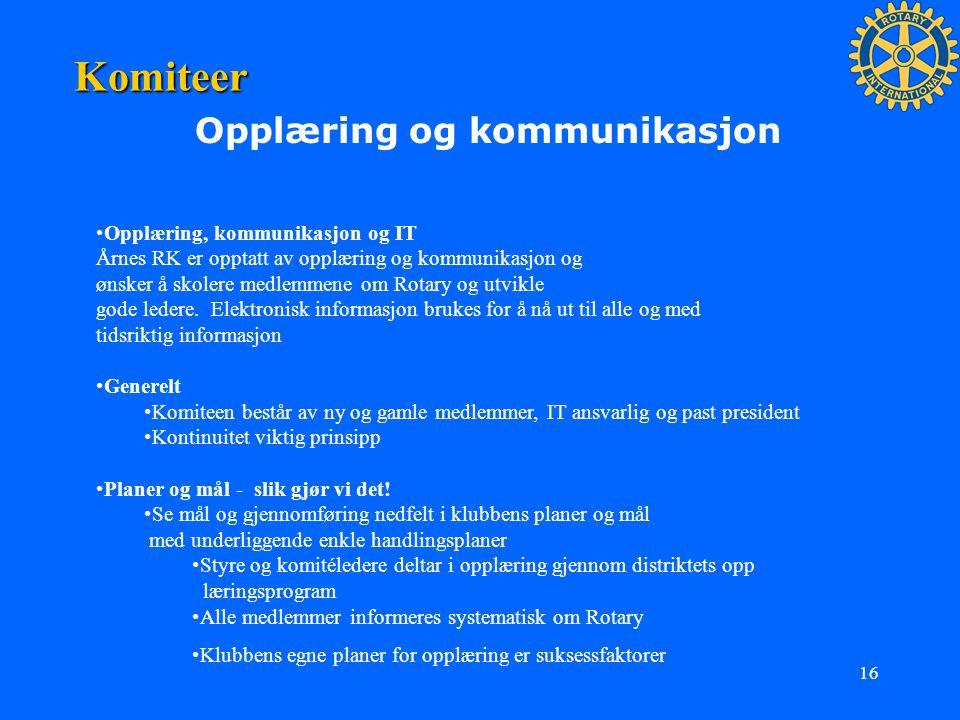 Komiteer Opplæring og kommunikasjon