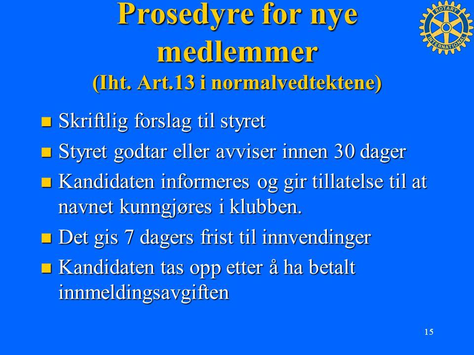 Prosedyre for nye medlemmer (Iht. Art.13 i normalvedtektene)