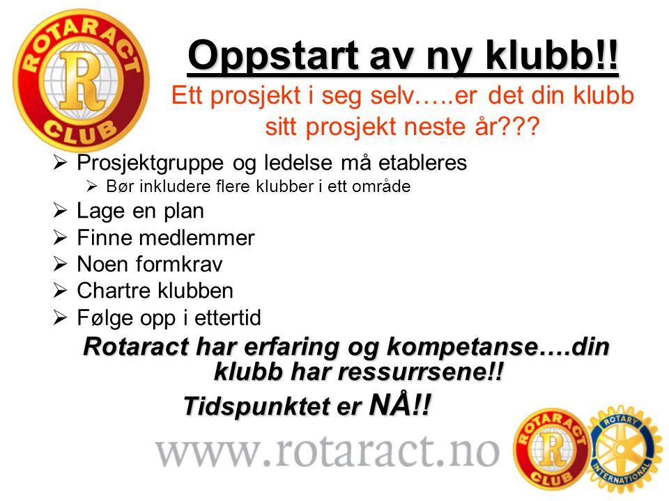 Rotaract har erfaring og kompetanse….din klubb har ressurrsene!!