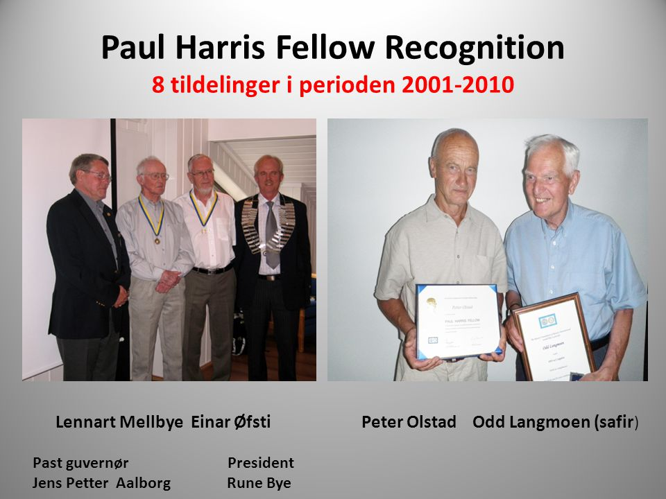 Paul Harris Fellow Recognition 8 tildelinger i perioden 2001-2010