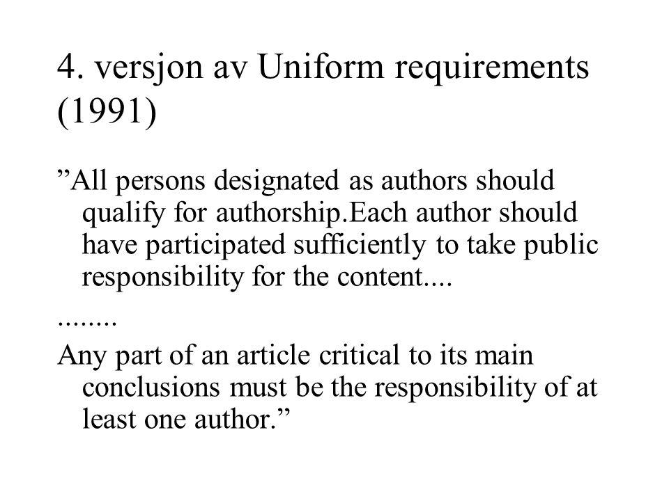 4. versjon av Uniform requirements (1991)