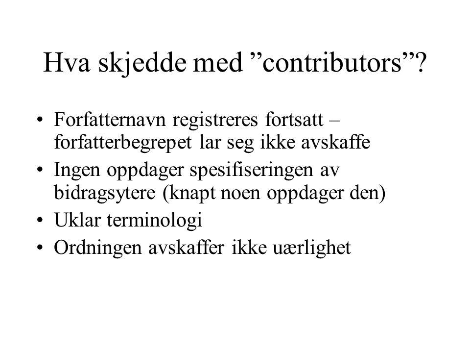 Hva skjedde med contributors