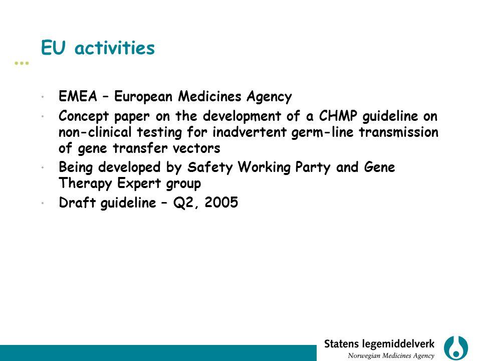 EU activities EMEA – European Medicines Agency