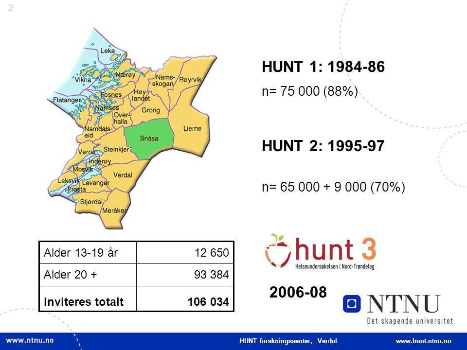 HUNT 1: 1984-86 n= 75 000 (88%) HUNT 2: 1995-97. n= 65 000 + 9 000 (70%) 106 034. Inviteres totalt.