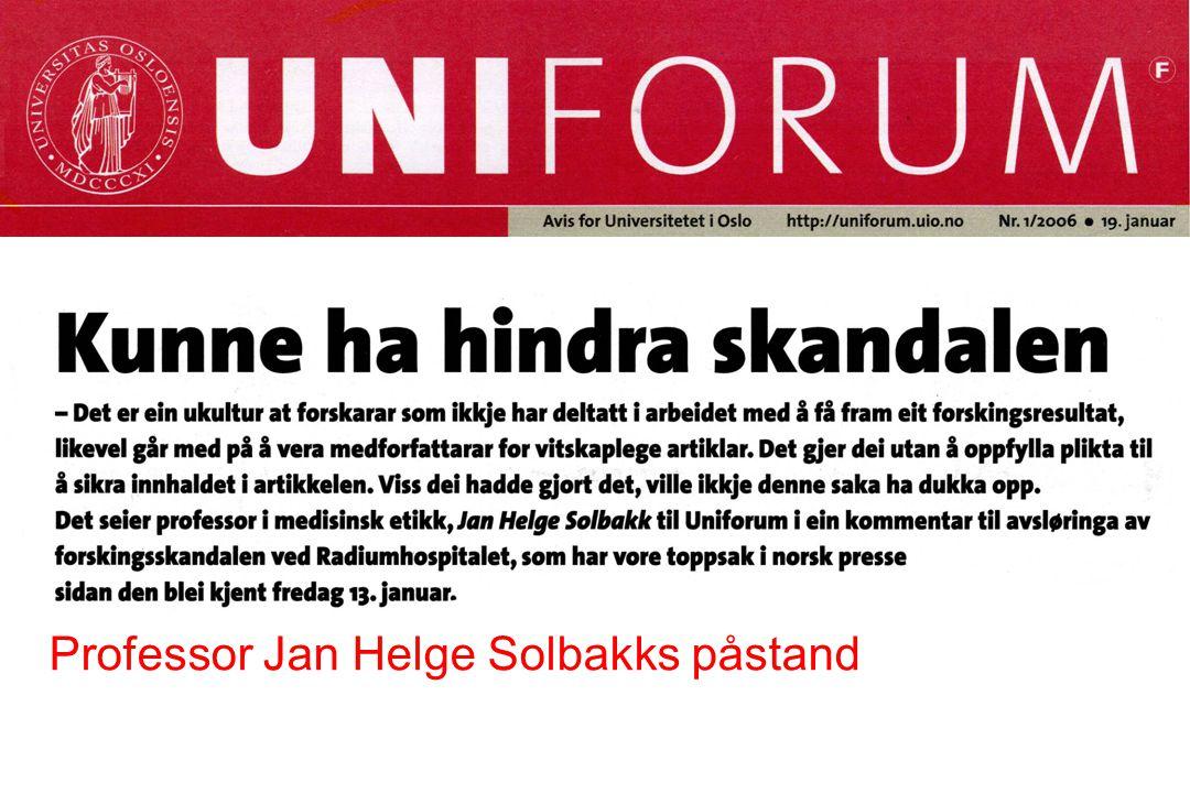 Professor Jan Helge Solbakks påstand