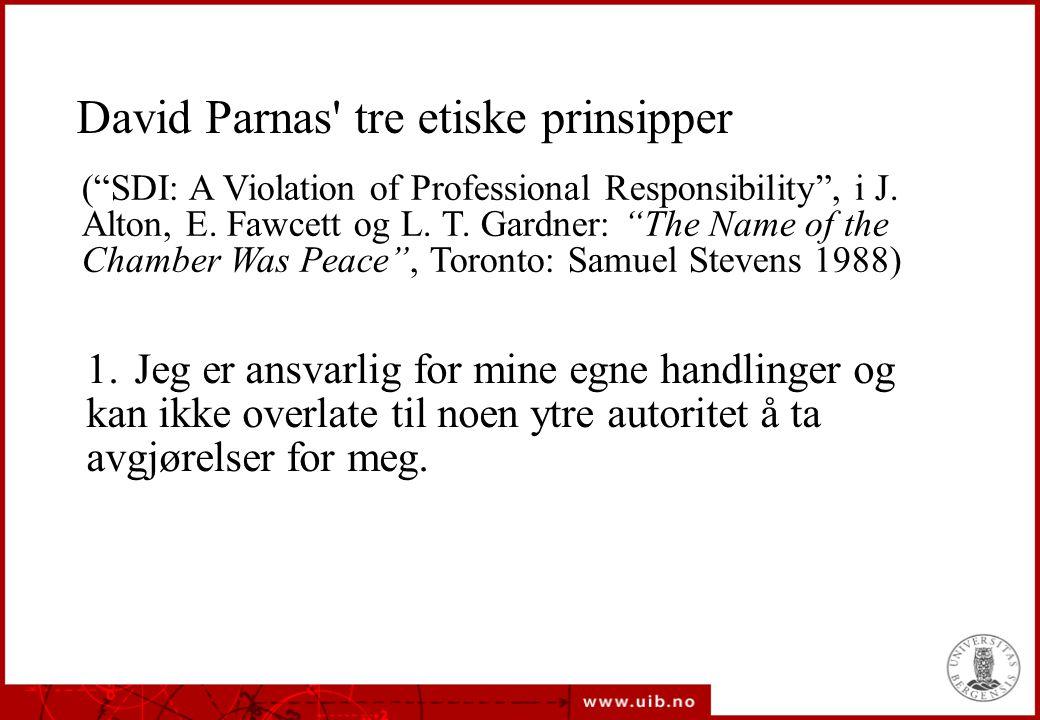 David Parnas tre etiske prinsipper