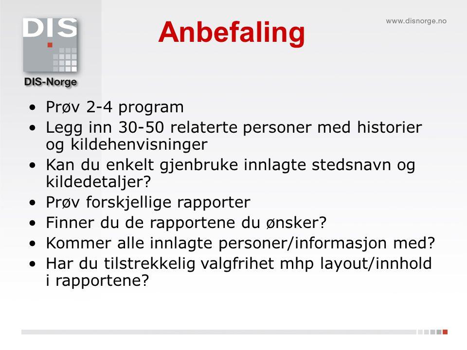 Anbefaling Prøv 2-4 program