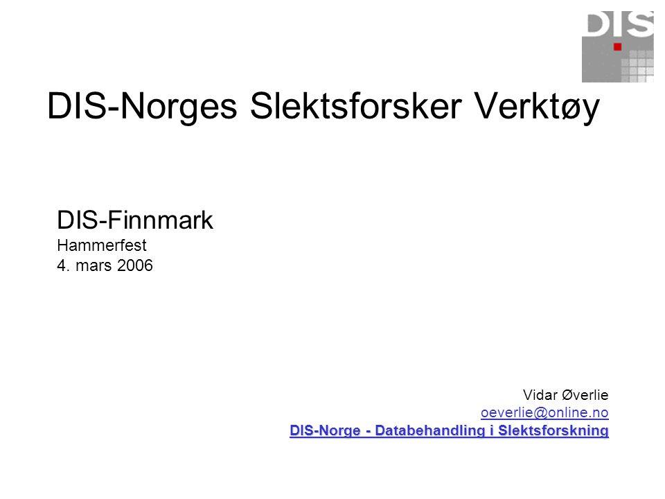DIS-Norges Slektsforsker Verktøy