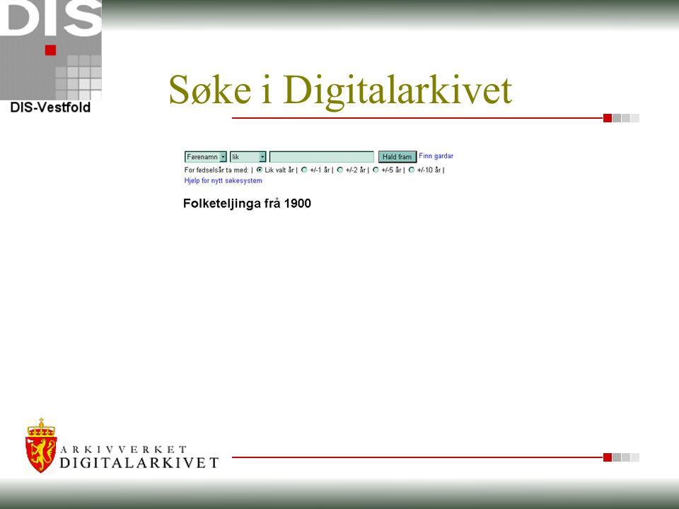 Søke i Digitalarkivet