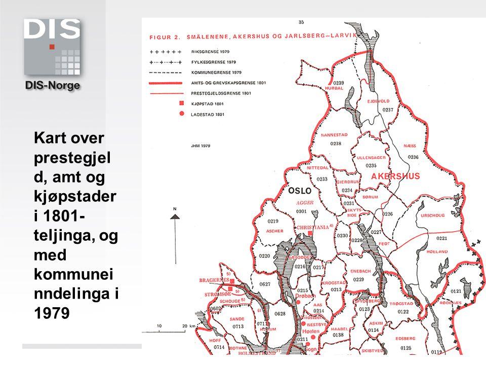 Kart over prestegjeld, amt og kjøpstader i 1801-teljinga, og med kommuneinndelinga i 1979