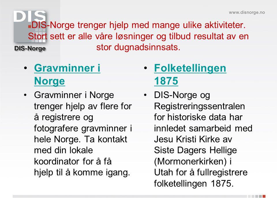 Gravminner i Norge Folketellingen 1875
