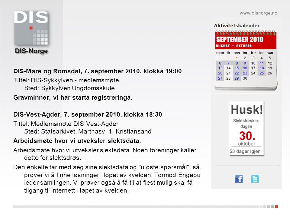 DIS-Møre og Romsdal, 7. september 2010, klokka 19:00