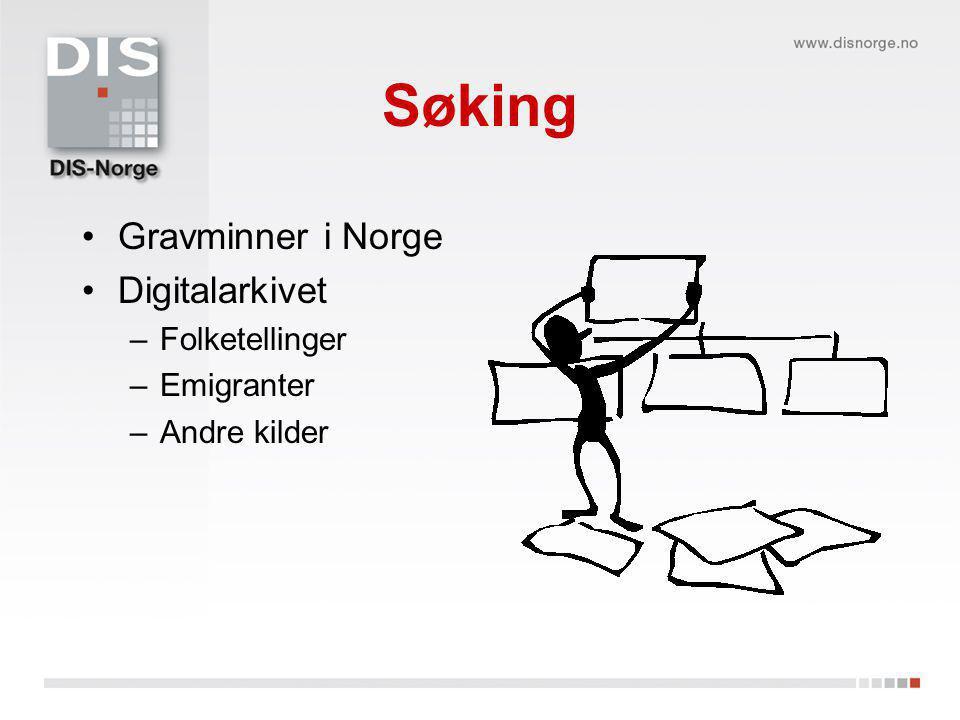 Søking Gravminner i Norge Digitalarkivet Folketellinger Emigranter