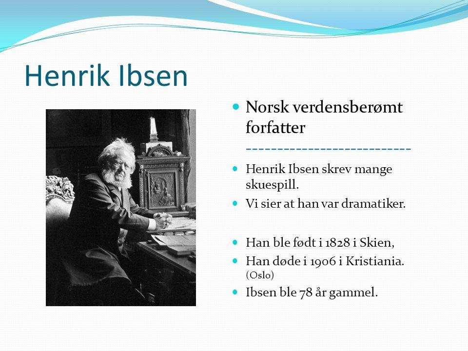 Henrik Ibsen Norsk verdensberømt forfatter ---------------------------