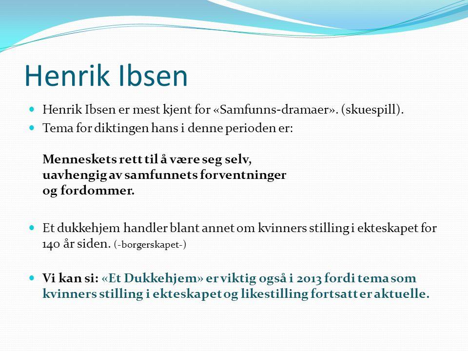 Henrik Ibsen Henrik Ibsen er mest kjent for «Samfunns-dramaer». (skuespill).