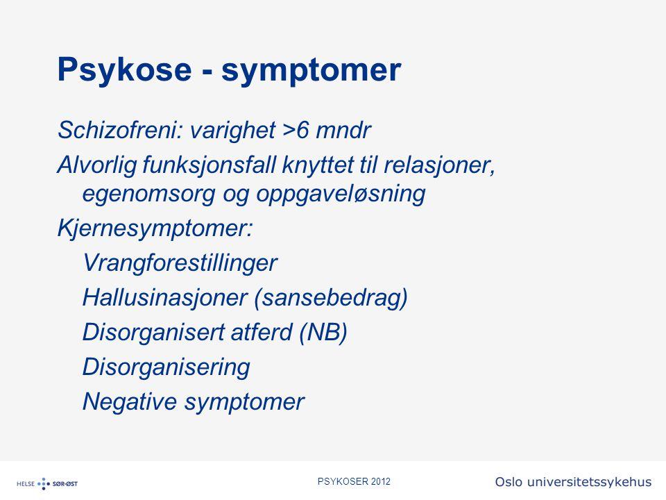 Psykose - symptomer Schizofreni: varighet >6 mndr