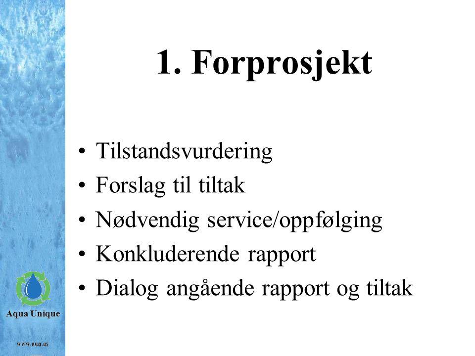 1. Forprosjekt Tilstandsvurdering Forslag til tiltak