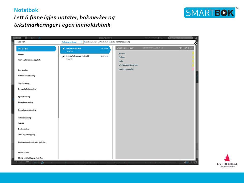 Notatbok Lett å finne igjen notater, bokmerker og tekstmarkeringer i egen innholdsbank