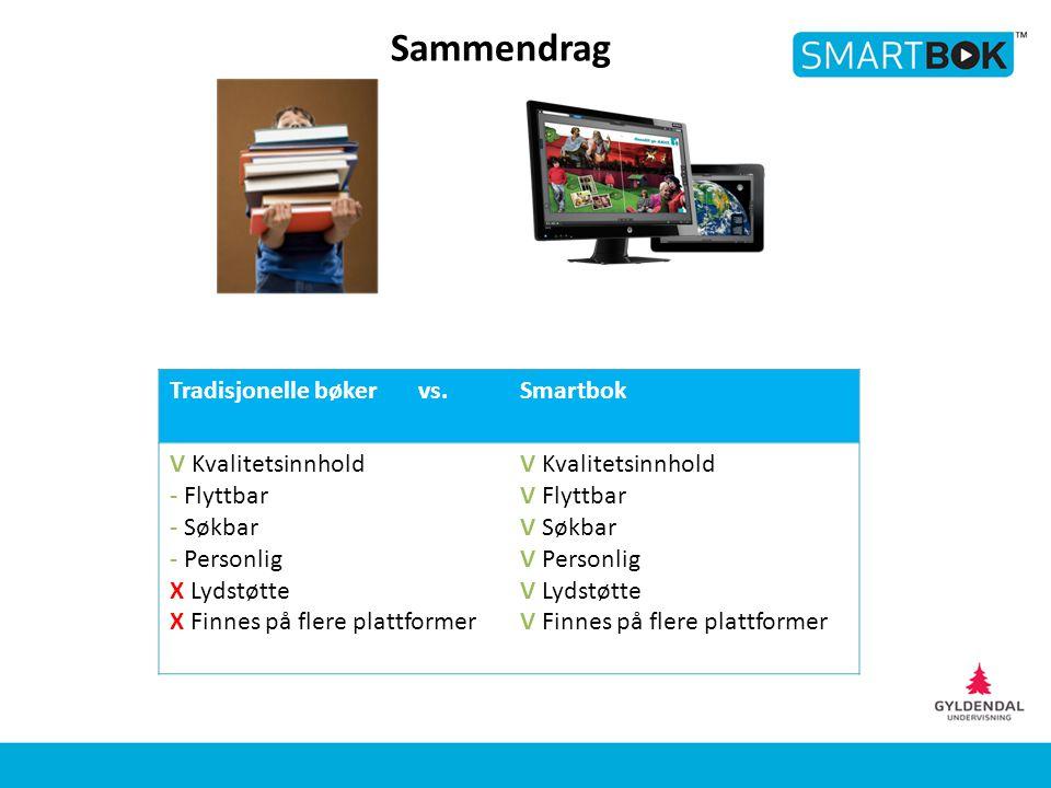 Sammendrag Tradisjonelle bøker vs. Smartbok V Kvalitetsinnhold