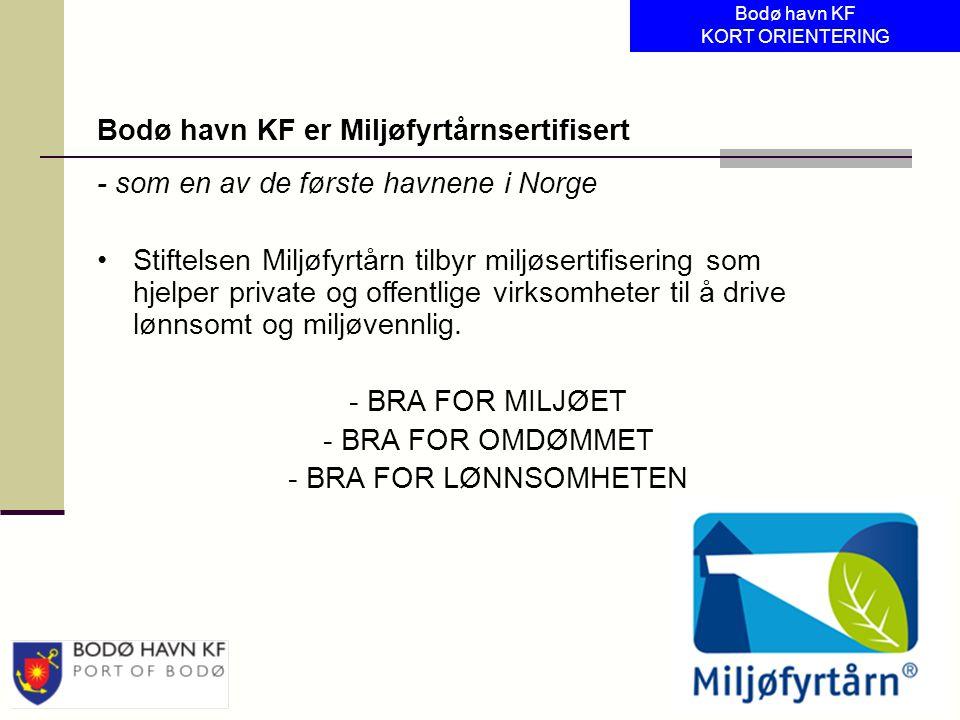 Bodø havn KF er Miljøfyrtårnsertifisert
