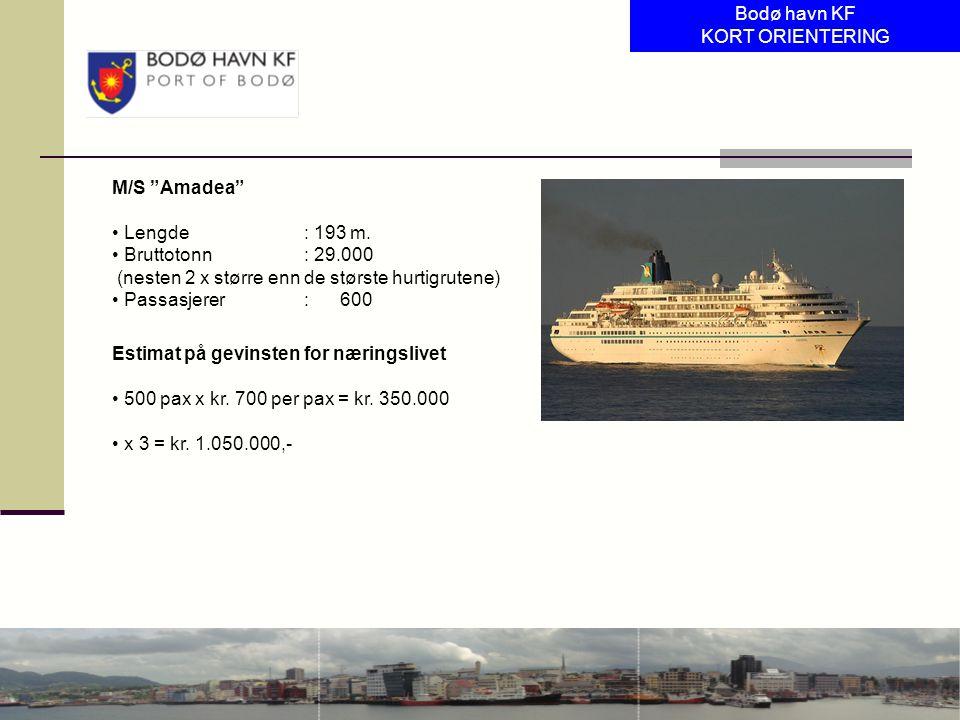 Bodø havn KF KORT ORIENTERING. M/S Amadea Lengde : 193 m. Bruttotonn : 29.000. (nesten 2 x større enn de største hurtigrutene)