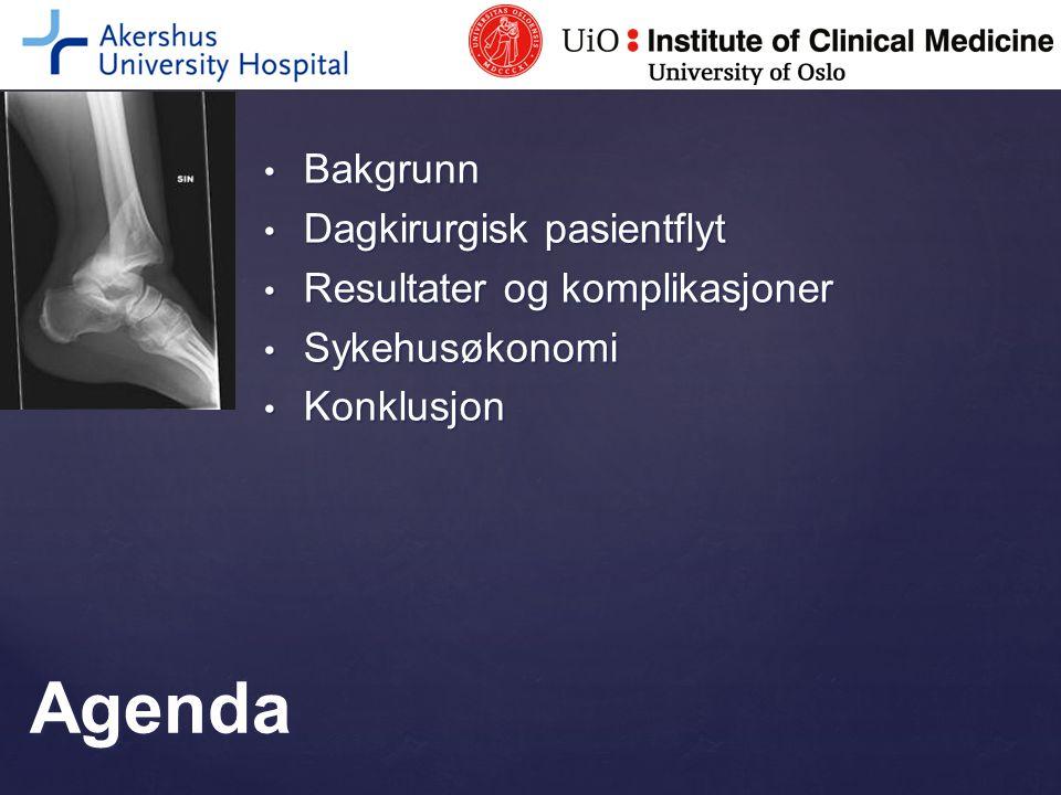 Agenda Bakgrunn Dagkirurgisk pasientflyt Resultater og komplikasjoner