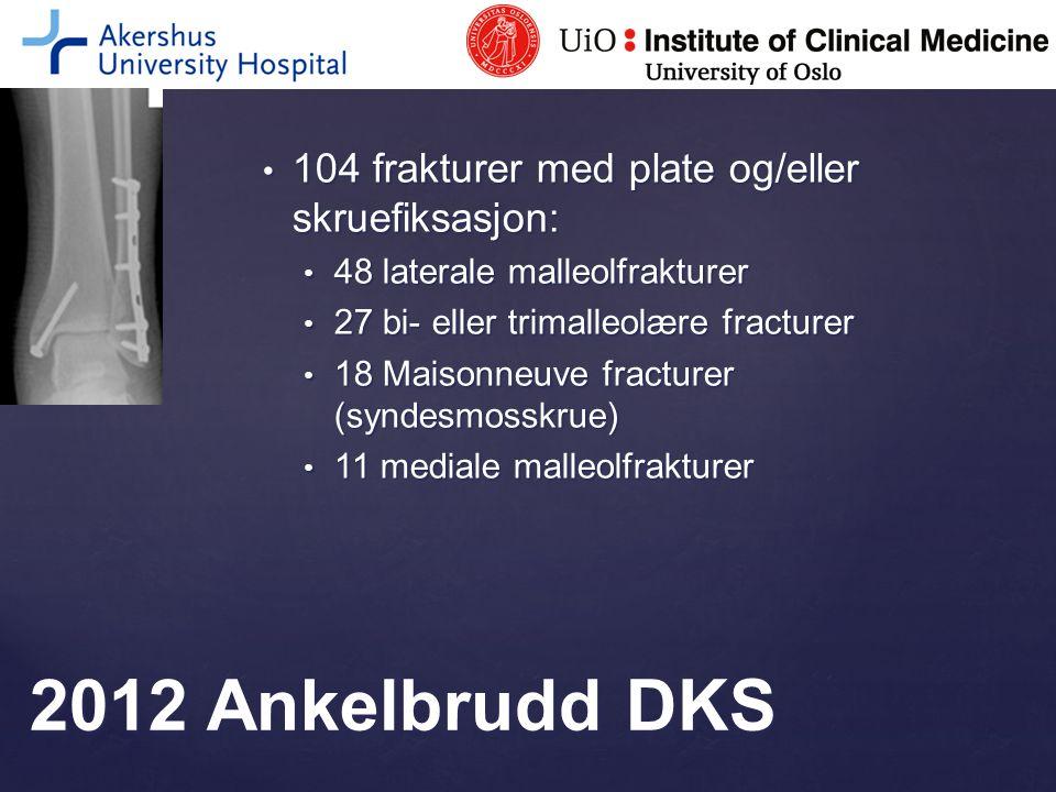 2012 Ankelbrudd DKS 104 frakturer med plate og/eller skruefiksasjon: