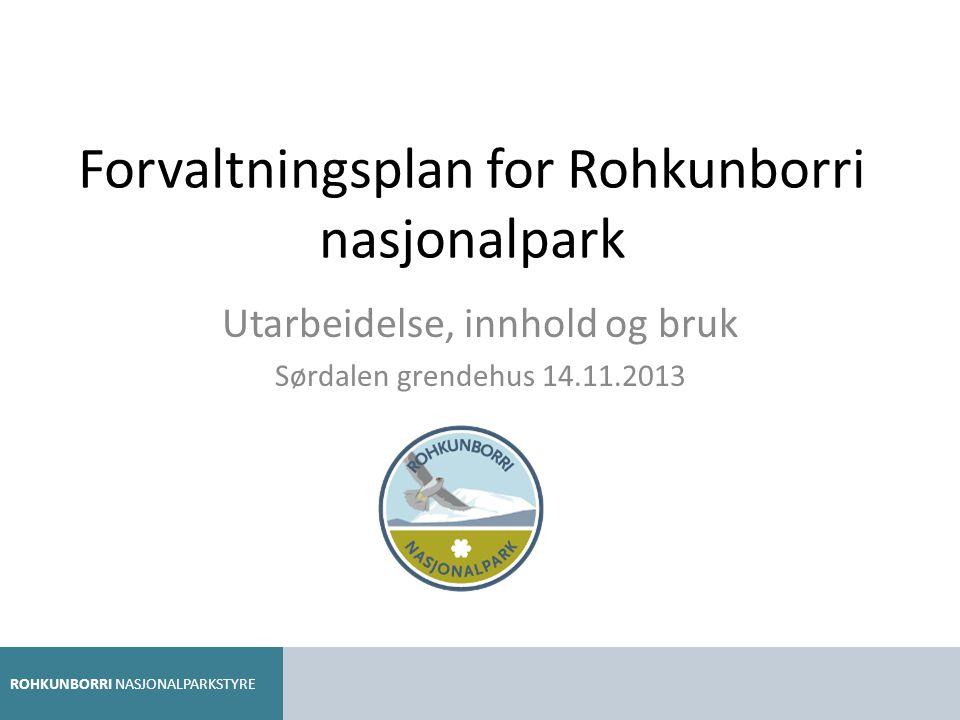 Forvaltningsplan for Rohkunborri nasjonalpark