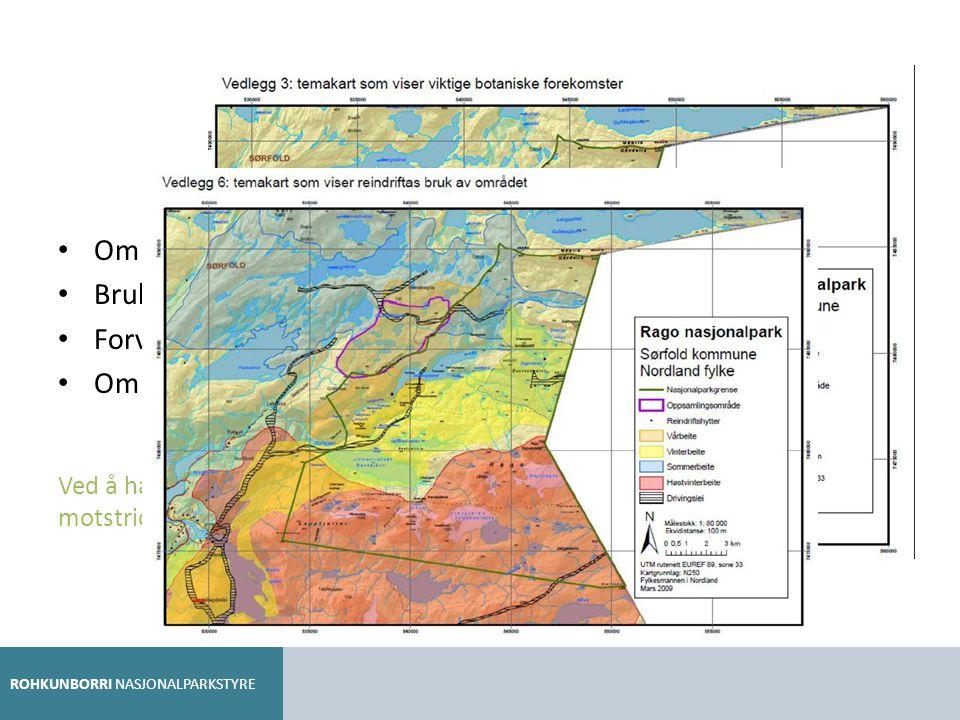 Temakart i planen Områder med spesielt sårbare naturverdier/verneverdier. Brukerinteresser (turisthytter, kulturminner, reindrift m.m.)