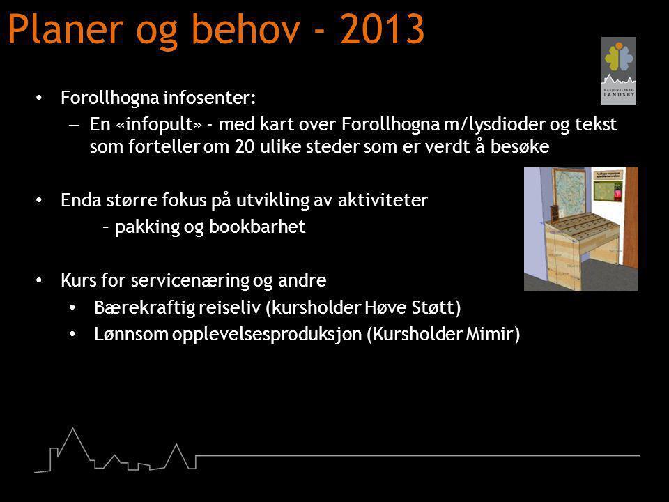 Planer og behov - 2013 Forollhogna infosenter: