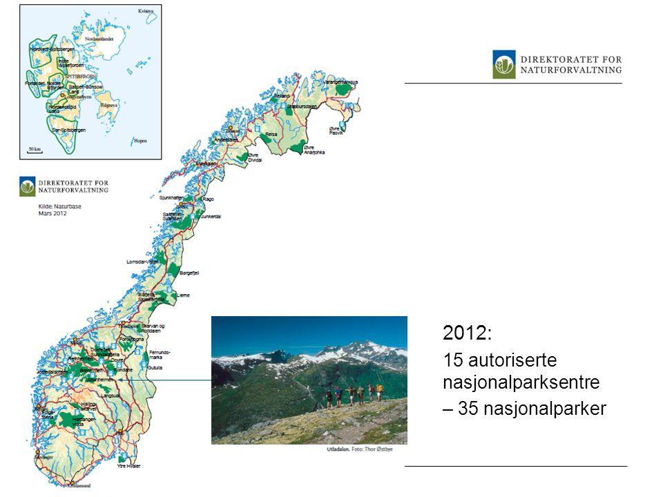 2012: 15 autoriserte nasjonalparksentre – 35 nasjonalparker