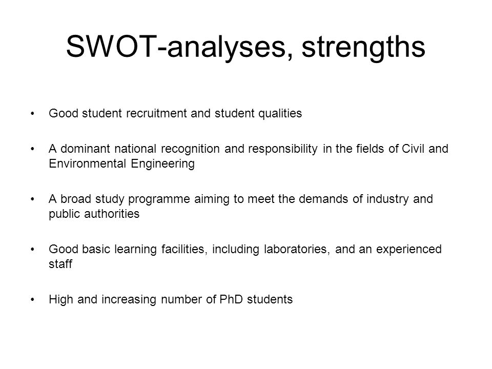 SWOT-analyses, strengths