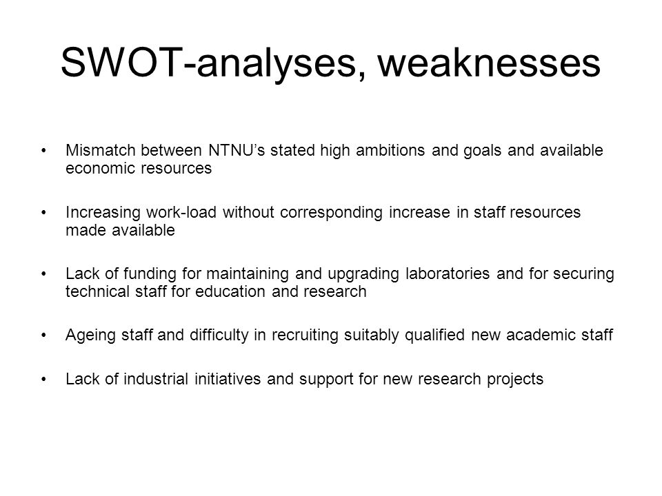 SWOT-analyses, weaknesses