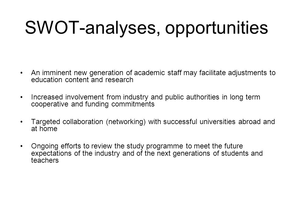 SWOT-analyses, opportunities