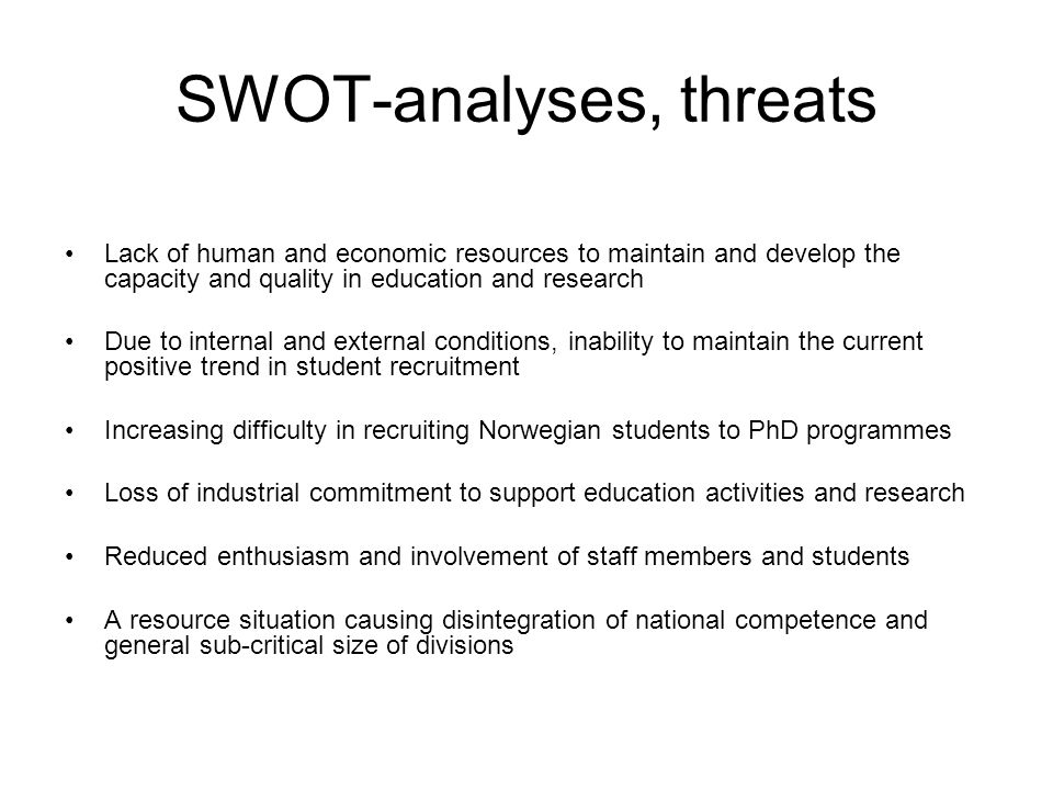 SWOT-analyses, threats