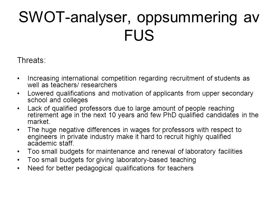 SWOT-analyser, oppsummering av FUS