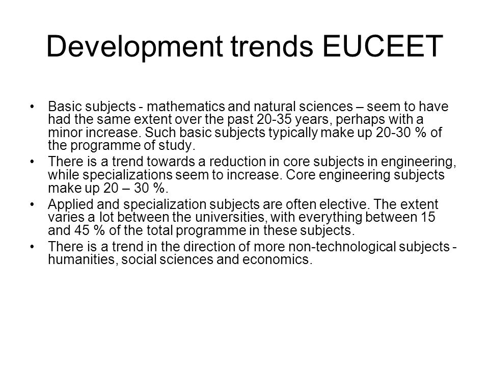 Development trends EUCEET